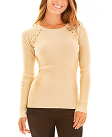 BCX Juniors' Ribbed Lace-Up-Detail Sweater