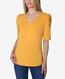 Elbow Puff Sleeve Solid V-Neck Knit Top
