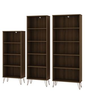 Manhattan Comfort Rockefeller Bookcases Set, 3 Piece In Brown