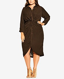 Women's Trendy Plus Size Twisted Stripe Dress