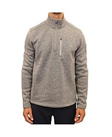 Men's Mixed Media Quarter Zip Sweater Fleece Pull Over