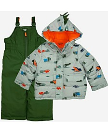 Little Boys 2 Piece Snowsuit with Dino Print Jacket