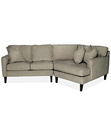 """Brennedy 89"""" 2-Pc. Fabric Sectional with Cuddler Chaise, Created for Macy's"""