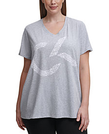 Calvin Klein Performance Plus Size V-Neck Logo Top