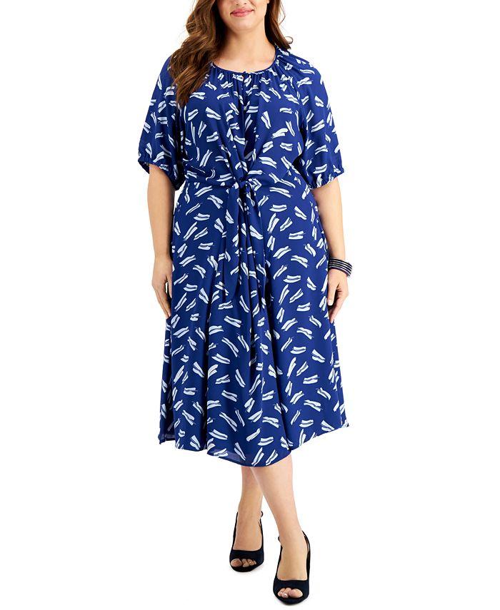 Alfani - Plus Size Twist-Front Midi Dress