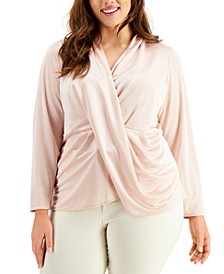 Plus-Size Draped Pullover Top, Created for Macy's
