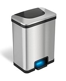 TapCan 13 Gallon Automatic Step Trash Can with Deodorizer (Black Trim)