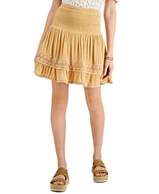 Juniors' Smocked Crochet-Trim Skirt