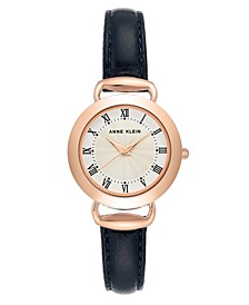Rose Gold-Tone and Navy Blue Leather Strap Watch 30mm