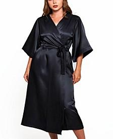 Women's Plus Size Luxury Long Robe with Kimono Style Sleeves