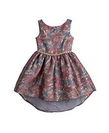 Big Girls Sleeveless Floral Jacquard Dress