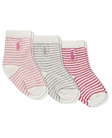 Ralph Lauren Layette Girls St. James Stripe Crew Socks 3-Pair