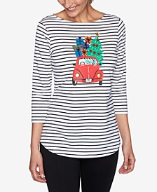 Petite Holiday Striped Cruiser Knit Top