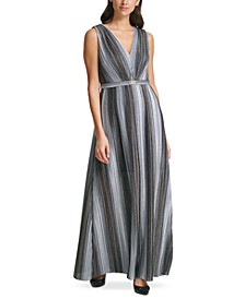 Metallic Crinkle Belted Gown