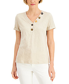 JM Collection Mixed Button Top, Created for Macy's