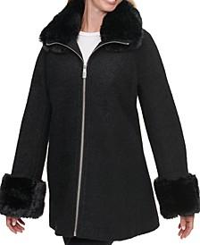 Faux-Fur-Trim Coat