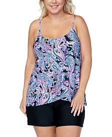 Plus Size Karma Paisley Tankini Top & Swim Shorts, Created for Macy's