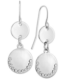 INC Silver-Tone Pavé Disk Double Drop Earrings, Created for Macy's
