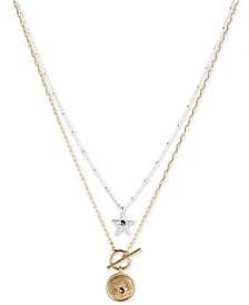 Two-Tone 2-Pc. Set Pavé Star & Sun Pendant Necklaces