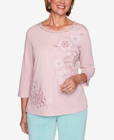 Women's Missy St. Moritz Monotone Embroidered Flowers Top