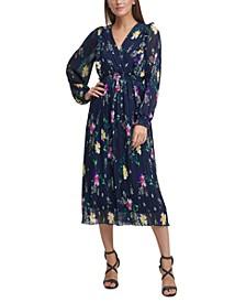 Floral-Print Pleated Ruffled A-Line Midi Dress