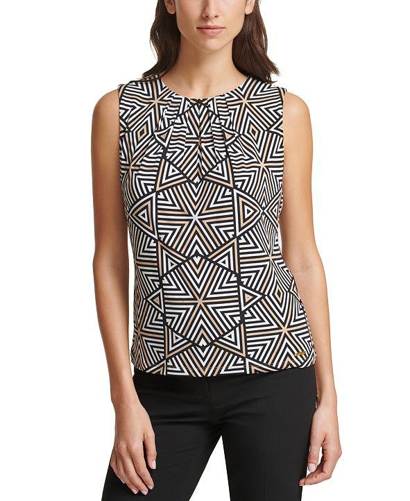 Calvin Klein Geometric-Print Pleat-Neck Top