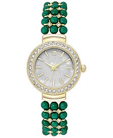 Women's Gold-Tone Crystal & Bead Bracelet Watch 28mm, Created for Macy's