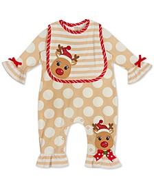 Baby Girls Reindeer Jumpsuit & Bib Set