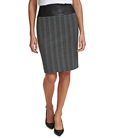 Printed Faux-Leather-Trim Pencil Skirt