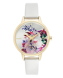 Women's Gold-Tone and White Strap Watch, 36mm