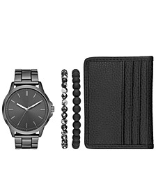 Men's Gunmetal Stainless Steel Bracelet Watch 44mm Gift Set
