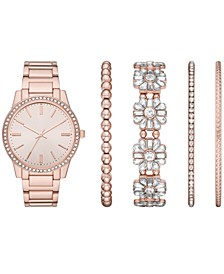 Women's Rose Gold-Tone Stainless Steel Bracelet Watch 36mm Gift Set