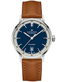 Men's Swiss Automatic Intra-Matic Brown Leather Strap Watch 40mm