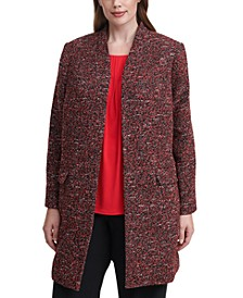 Plus Size Tweed Open-Front Jacket