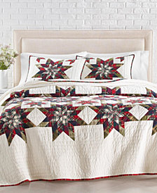 Martha Stewart Collection Star Plaid Patchwork Artisan King Quilt, Created for Macy's