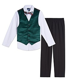 Baby Boys Green Velvet Vest Set