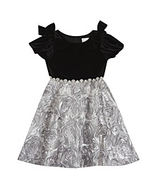 Little Girl Stretch Velvet Puff Sleevev Dress With Soutache Skirt