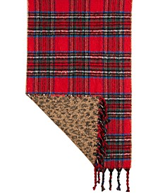 Plaid & Animal Print Reversible Blanket Scarf