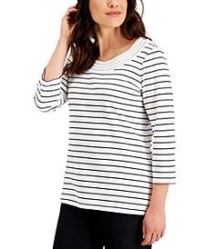 Striped Lattice-Scoop-Neck Top, Created for Macy's