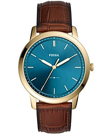 Men's Minimalist Brown Leather Strap Watch 44mm