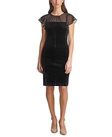 Shirred-Neck Velvet Sheath Dress