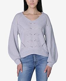 Juniors' Mixed-Stitch Lattice Sweater