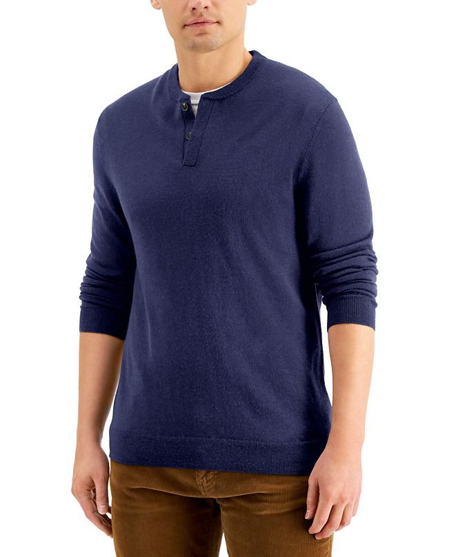 Club Room Men's Merino Solid Henley Sweater, Created for Macy's