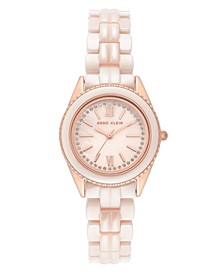 Women's Light Pink Ceramic and Mixed Metal Bracelet Watch 30mm