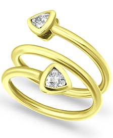 Cubic Zirconia Trillion Bezel Wrap Ring in 18k Gold-Plated Sterling Silver, Created for Macy's