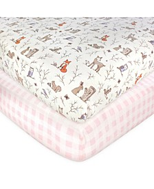 Baby Girls 2 Piece Cotton Fitted Crib Sheet