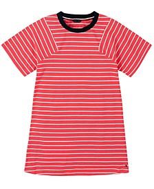 Big Girl's Yarn Dye Stripe Pieced Sleeve Dress