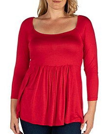 Women's Plus Size Classic Long Sleeves Tunic Top