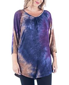 Women's Plus Size Three Quarter Sleeves Tie Dye Print Long Tunic Top