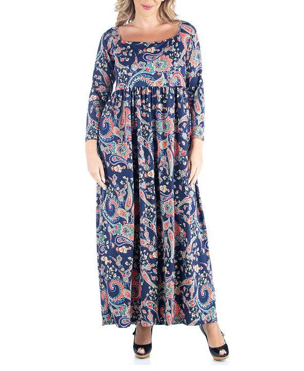 24seven Comfort Apparel Women's Plus Size Paisley Print Maxi Dress